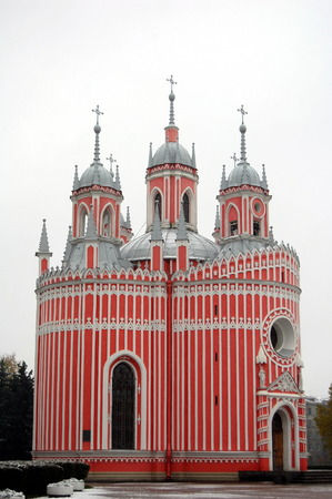 gothic revival: The Chesme Church is a small Russian Orthodox church in Saint Petersburg, Russia. It was built by Russian architect Y Felten in 1780, at the direction of Catherine the Great, Empress of Russia Stock Photo