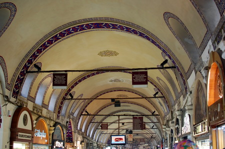 bazaar: Painted arches of the Egyptian Bazaar in Istanbul, Turkey