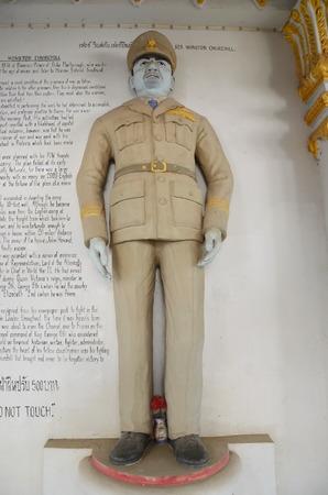 churchill: Sir Winston Churchill. Sculpture at the War Museum in Kanchanaburi, Thailand