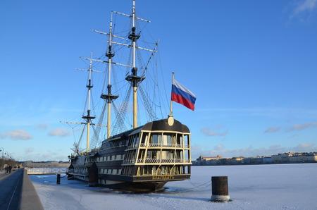 Sailboat Grace on the frozen Neva river, St. Petersburg