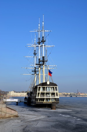 Frigate  Blagodat (Grace) on the Neva river, St. Petersburg, Russia Editorial