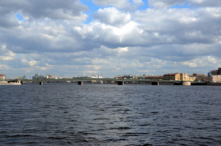 Liteyny Bridge above the Neva river. Spring in St. Petersburg, Russia