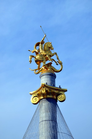 St. George, killing the dragon, on Freedom Square in Tbilisi, Georgia. The monument was created by the sculptor Zurab Tsereteli and was opened on November 23, 2006