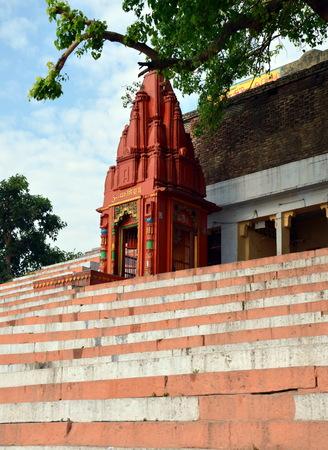 benares: Small Shiva temple on Embankments of the Ganges, Varanasi, India
