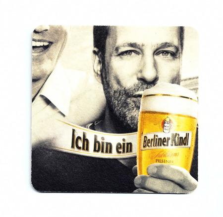 Vintage coaster (beer mat) advertising beer Berliner Kindl Redactioneel