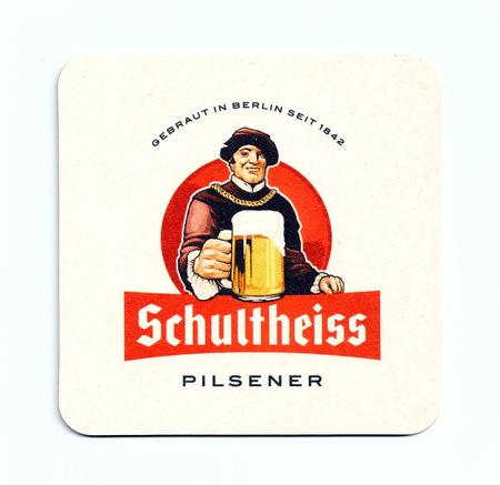 Vintage coaster (beer mat) advertising beer Schultheisse (Germany)