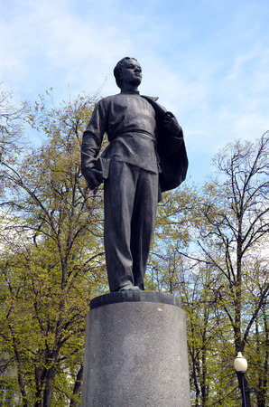 Monument to young Vladimir Lenin in front of Kazan State University