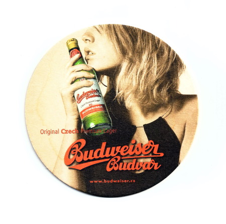 Coaster (beer mat) advertising beer Budweiser