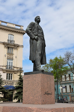 Monument to russian soviet writer Maxim Gorky in St. Petersburg Editorial
