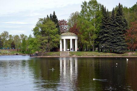 rotunda: Gazebo Rotunda on the shore of Swan Pond. Krestovsky Island, St. Petersburg, Russia