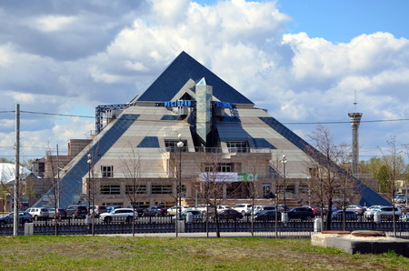 KAZAN, TATARSTAN, RUSSIA - MAY 13, 2017 - View on an shoping mall and entertaining complex the Pyramid, Kazan