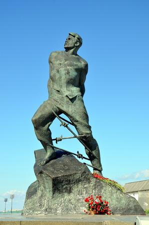 KAZAN, TATARSTAN, RUSSIA - MAY 13, 2017 - Monument to Musa Jalil - tatar national poet and hero