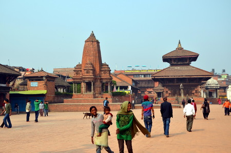 jainism: BHAKTAPUR, NEPAL - MARCH 21, 2013 - Ancient hindu temples on Durbar square in Bhaktapur, Nepal