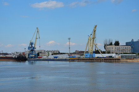 lading: ASTRAKHAN, RUSSIA - AUG 1, 2017 - Cargo port in Astrakhan, Russia