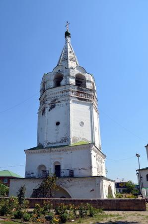 STAROCHERKASSKAYA, RUSSIA - JULY 26, 2017 - The belltower of Resurrection Cathedral in Starocherkasskaya, Russia