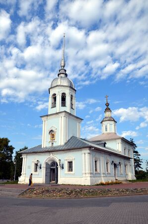 Alexander Nevsky Church in Vologda, Russia. Alexander Nevsky Church was built in the XVIII century. It is a brick-domed church in baroque style with a bell tower. Located in the center of Vologda Stock Photo