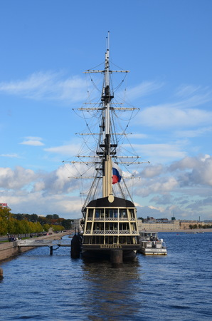 ST-PETERSBURG, RUSSIA - OCT  7, 2017 -  Sailboat  Grace  on the Neva river, St. Petersburg Editorial