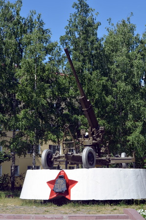 VOLOGDA, RUSSIA - JUNE 21, 2013: Anti-aircraft gun. Monument to the anti-aircraft gunners of the Great Patriotic War, Vologda