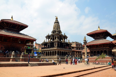 LALITPUR (PATAN), NEPAL - MARCH 22, 2013 - Old Hindu temle in Patan. Durbar Square is situated at the centre of the city of Lalitpur (Patan) in Nepal