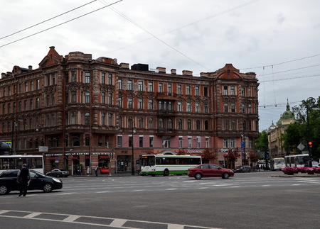SAINT-PETERSBURG, RUSSIA - JUNE 20, 2017 - City views of St. Petersburg, Russia. Leo Tolstoy Square