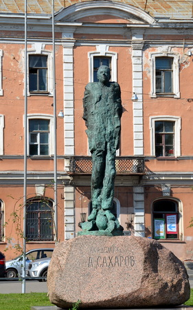 SAINT-PETERSBURG, RUSSIA - JULY 19, 2018: Monument to Academician A.D. Sakharov, St.Petersburg, Russia