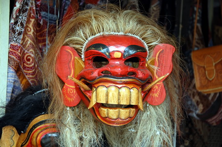 Traditional Indonesian mask. Wall decoration Imagens