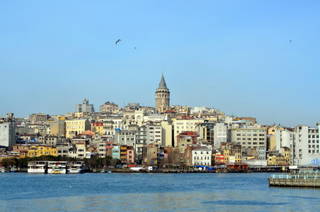 ISTANBUL, TURKEY - JAN 10, 2013 - View of the Galata Tower, Istanbul, Turkey