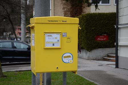SALZBURG, AUSTRIA - JAN 16, 2018 -   Post of Austria. Mailbox in Salzburg