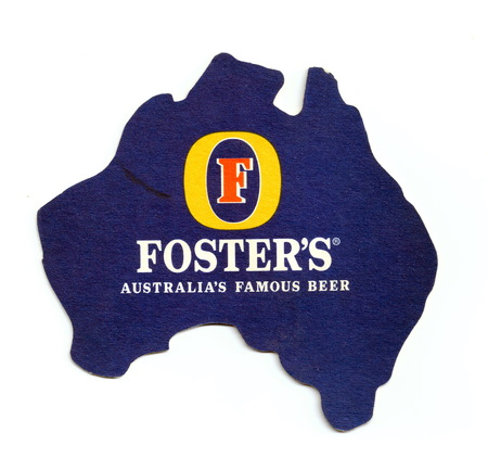 ST-PETERSBURG, RUSSIA - MARCH 3, 2019 - Vintage coaster (beer mat) with ad of Fosters beer.  Isolated on white background