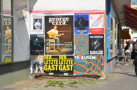 BERLIN, GERMANY - APRIL 8, 2019 - Theater and concert posters in Berlin, Germany