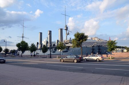 SAINT-PETERSBURG, RUSSIA - JULY 21, 2019:  View on the cruiser Aurora, St. Petersburg, Russia