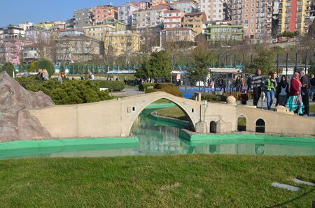 ISTANBUL, TURKEY - DEC 27, 2015 - Scale model of Malabadi Bridge at Miniaturk park in Istanbul, the largest miniature park in the world. The park contains 105 buildings