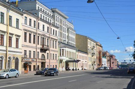 SAINT-PETERSBURG, RUSSIA - JUNE  30, 2019:   8 line of  Vasilievsky Island, St. Petersburg, Russia