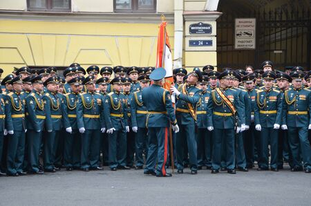 ST-PETERSBURG, RUSSIA — May 5, 2018: Repetition of parade during an opposition protest rally ahead of President Vladimir Putin's inauguration ceremony Editorial