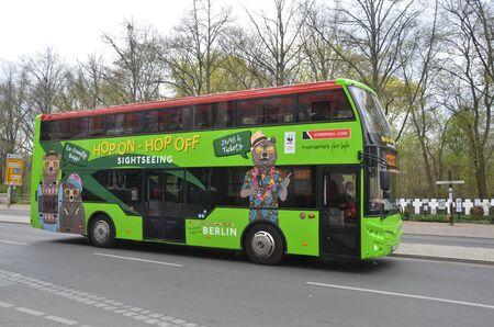 BERLIN, GERMANY - APRIL 13, 2019: Hop on - Hop off sightseeing bus in Berlin, Germany