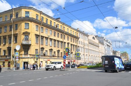 SAINT-PETERSBURG, RUSSIA - JUNE 28, 2019: Maly prospect of Vasilievsky Island, St. Petersburg, Russia Editorial