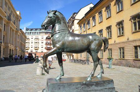 STOCKHOLM, SWEDEN - AUG 6, 2018 - Sculpture of a horse in Stockholm, Sweden