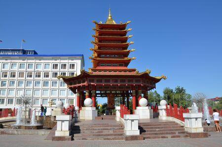 ELISTA, KALMYKIA, RUSSIA - JULY 28, 2017 - Seven Days Pagoda in Elista, Kalmykia