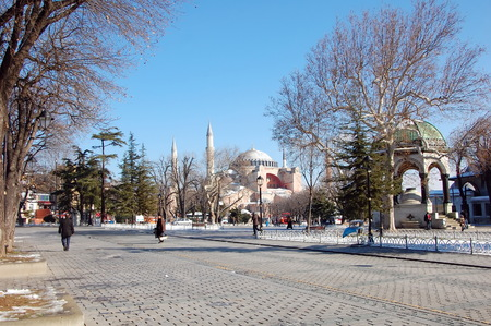 View on Hagia Sofia mosque and German Fountain from Hippodrome of Constantinople in Istanbul, Turkey