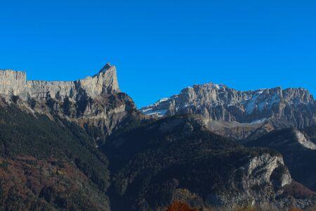 massif: Panorama of Grand massif in autumn, Alps Haute - Savoie, France Stock Photo