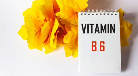 The word vitamin B6 is written on a notebook on a white background