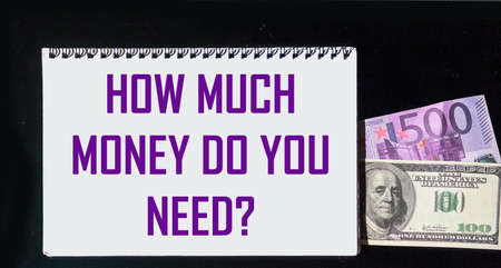How much money do you need The phrase is written on a notebook and on a black background with dollars and euros. Funding and business concept creation.