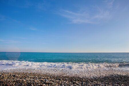 Pebble beach with sea views on the Promenade des Anglais in Nice, France Foto de archivo