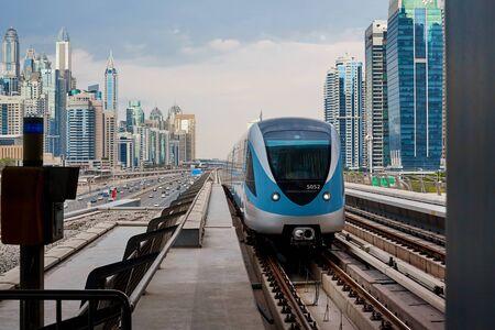 Beautiful view of the metro train to Dubai. Dubai metro is the world's longest fully automated metro network 75 km