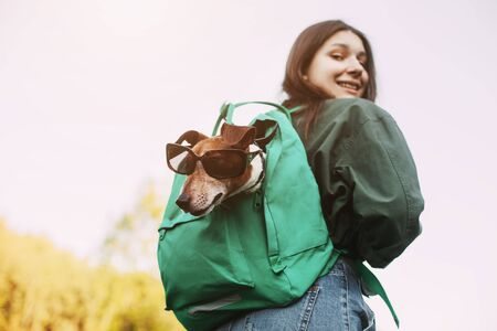 A smiling girl is holding a green backpack on her shoulder, from which a dog in sunglasses looks out. A girl and her friend travel together, take walks. Rear view
