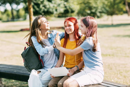A group of teenage girls sitting and high-fiving with a laptop in the park. Meeting on a training project. Friendship, education, training Standard-Bild