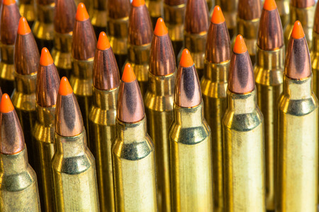 full jacket bullet: bullets ammunition in a row