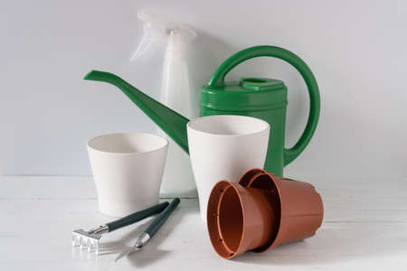 Houseplant care tools. Implements for home gardening. Stock Photo