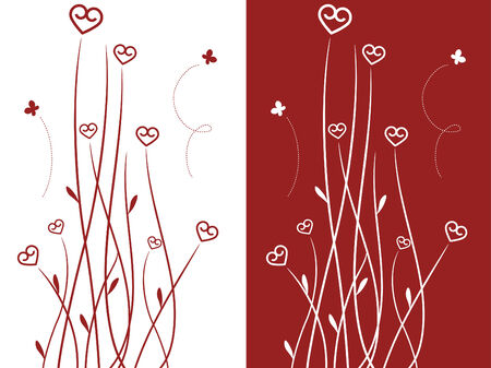Heart shaped flowers Vector