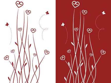 Heart shaped flowers Çizim